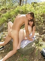 Amateur teen couple has outdoor sex in the forest
